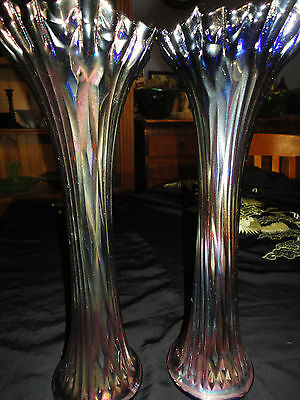 Rare Large Pair of Funeral Colourful Carnival Glass Vases