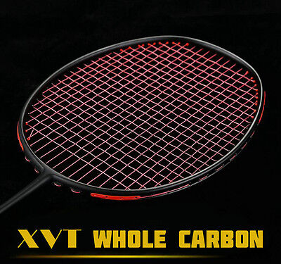XVT Professional Black Carbon/ Whole Carbon Badminton Racket with String and bag
