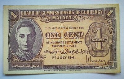 1941 British Malaya 1, 5 and 10 Cents, total 3 notes King George VI, VF