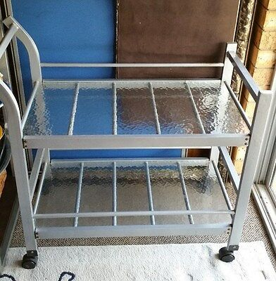Solid Vintage  Metal & Glass Retro Art Deco Auto Drinks Trolley Reduced To Clear