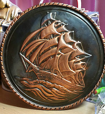 "Vintage Stunning Copper Wall Art ""old Sailing Ship In Full Sail"""