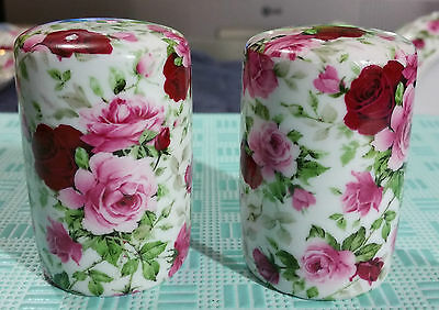 "Vintage ""pink & Burgundy Rose Chintz"" Salt & Pepper"