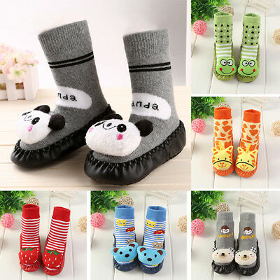 Infant Kids Cartoon Bell Leather Non-Slip Bottom Baby Socks Thick Floor Socks