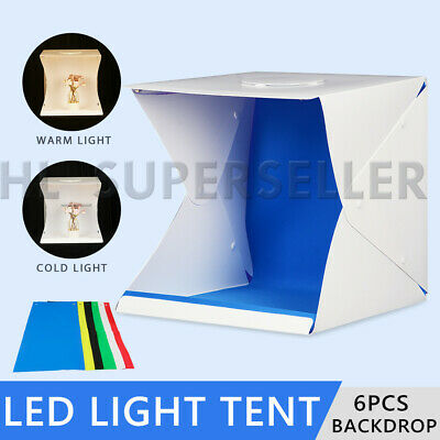 "Photo Studio 16"" 40CM LED Lighting Tent Kit Portable Light Room Box 6x Backdrop"