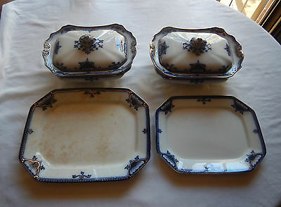 Burleigh Ware Hamilton 2 Lidded Vegetable Dishes & 2 Serving Plates Blue & White