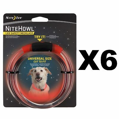 "Nite Ize NiteHowl LED Safety Necklace Red Universal Dog Collar 12""-27"" (6-Pack)"
