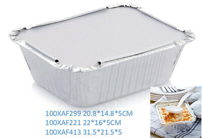 100 x Aluminium Foil Trays with Lid Disposable Food Container Roasting Roast Pan