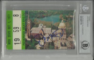 Joe Montana Auto Signed Notre Dame Ticket Vs Mich State 77 Nat'l Champs Beckett