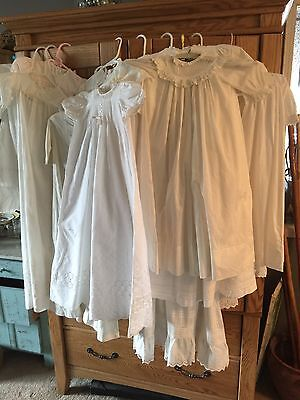 Antique Victorian Childs Christening Gowns Huge Lot! 17 dresses 5 bonnets 4 bibs