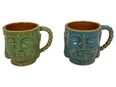 10Cm Tall Buddha Face Mug Cup With Stone Finish - Blue Or Green - Coffee Tea Cup