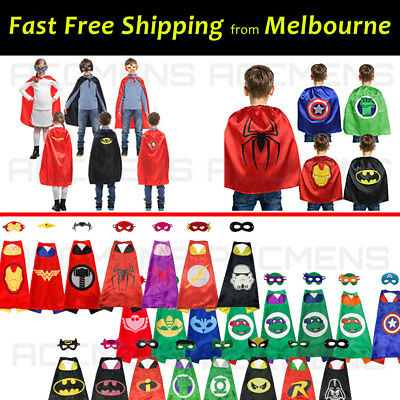 Kids Costume Cape and Mask Set All Superhero Batman Wonder Woman Spiderman Party