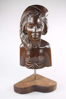 Vintage Bali Indonesian Hand Carved Cherry Wood Bust Of Tribal Woman