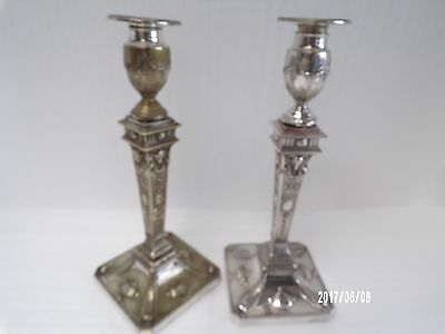 Victorian Silver Plate of Candlesticks, Hawksworth Eyre & co c1870