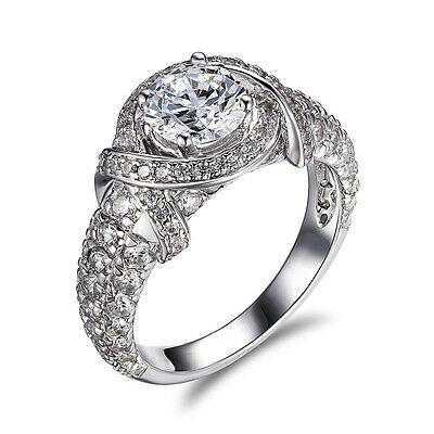 Bridal Ring Band Engagement 3Ct Round Cut Diamond 14k White Gold Solitaire $1999