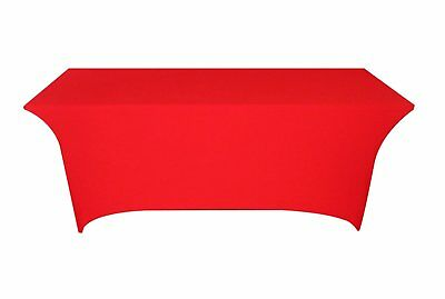 Tina 6 ft. Rectangular Banquet Table Cover Spandex Fitted Stretch Tablecloth Red