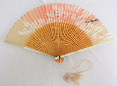 Vintage 1980's Painted Wood Bamboo & Hand Painted Paper Fan - Blossom Flower