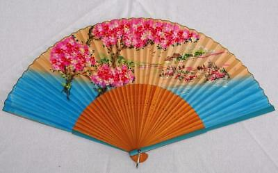 Vintage 1980's Painted Wood Bamboo & Hand Painted Paper Fan - River Scene