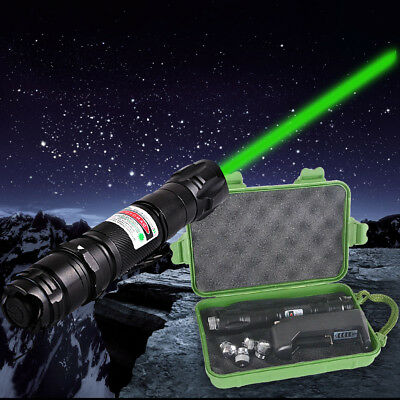 EU Charger + Professional 1mw 532nm Powerful Green Laser Pointer Light Pen + Box