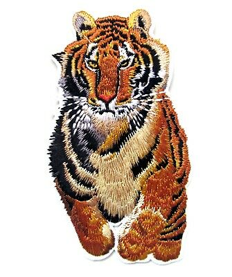 Tiger Running Iron On Patch Embroidered Appliques Animal Badge Safari Zoo Crafts