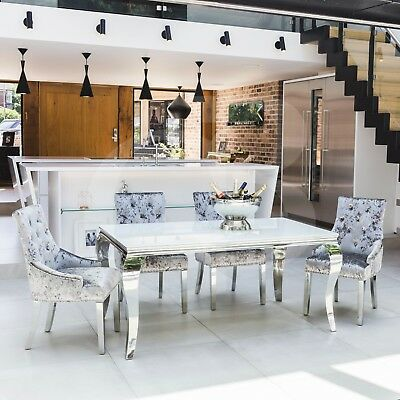 eGB116-WP - 1.6 New Louis Polished Steel Dining Table with White Tempered Glass
