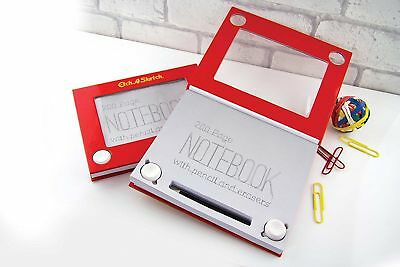 Paladone Etch-A-Sketch Notebook Hardbound 200 Pages Pencil Erasers