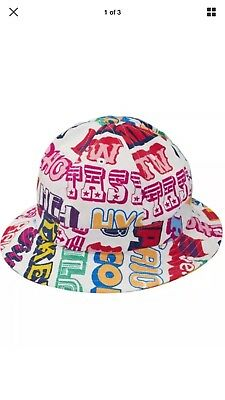 9cb3ac05e53 SUPREME HYSTERIC GLAMOUR Text Bell Bucket Hat Size M L White FW17H90 ...