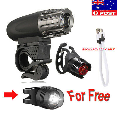 Bright LED Bicycle Bike Front Headlight USB Rechargeable and Rear Tail Light