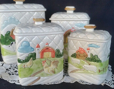 OTAGIRI Ceramic Cannister Set x 4 Country Cannisters REtro Vintage Kitchen
