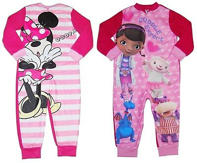 Girls Disney All in One Fleece Pyjamas Minnie Mouse Doc McStuffins upto 7-8 Yrs