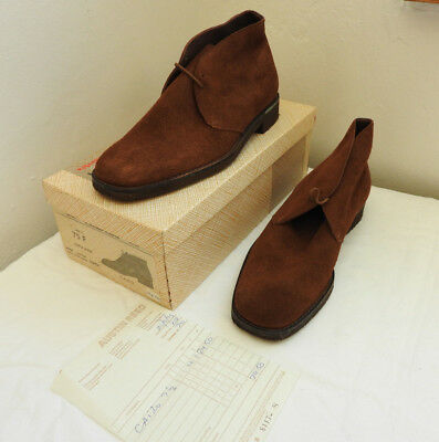 Boxed Pair Vintage Men's Maple Suede Shoes Leather Boots Churches 7 1/2 (4923)