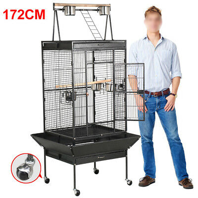 "68"" Black Bird Cage Large PlayTop Parrot Finch Cage Macaw Cockatoo Pet Supplies"