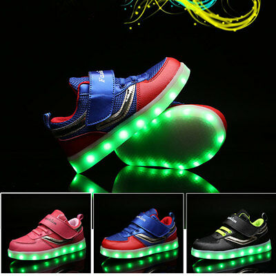 LED Kids Boys Girls Shoes Light Up Luminous Children Trainers Sport Sneakers New