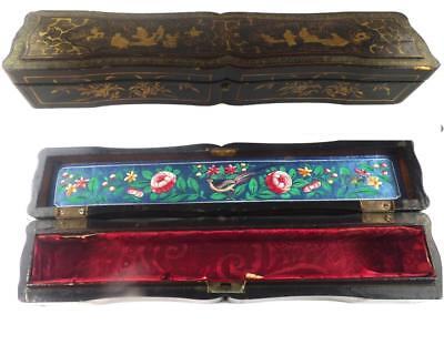 Antique Chinese Black Lacquer Lacquered Fan Box Gold Painted