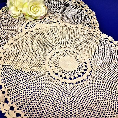 2 x Matching - Ecru 40cm Round Crocheted DOILIES  Centre Pieces