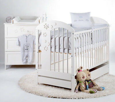 White Solid Wooden Baby Cot Bed & Drawer +11cm Luxe Aloe Vera Coconut Mattress