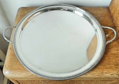 SUPERB VINTAGE 1960s CIRCULAR SILVER PLATED MIRROR FINISH TWIN HANDLED TRAY