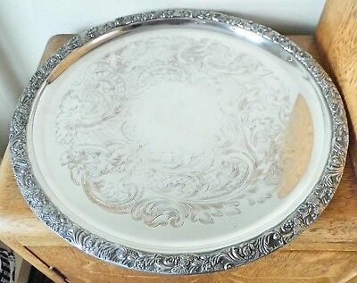 SUPERB VINTAGE CIRCULAR ORNATE SILVER PLATED TRAY Cast Floral Rim on 3 Ball Feet