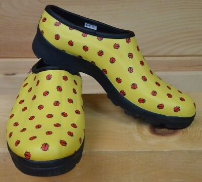 Ranger Yellow Ladybug Clog Rubber Waterproof Gardening Bootie Shoes US Size 10