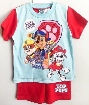New 2-6 Pyjamas Paw Patrol Summer Sleepwear Pj Pjs Top Tshirts Kids Boys Nightie