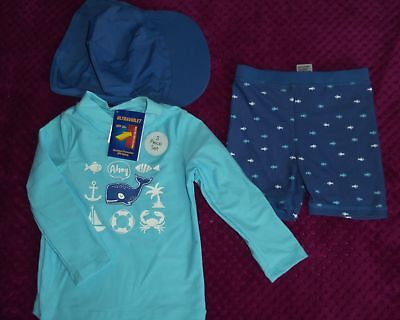 Baby boys size 12-18 months blue l/s rash vest shorts and hat set New with tags