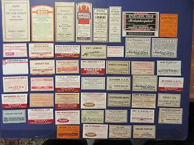 48+Old Pharmacy-Apothecary-Poison-Medicine Bottle Labels=Vintage Ephemera=