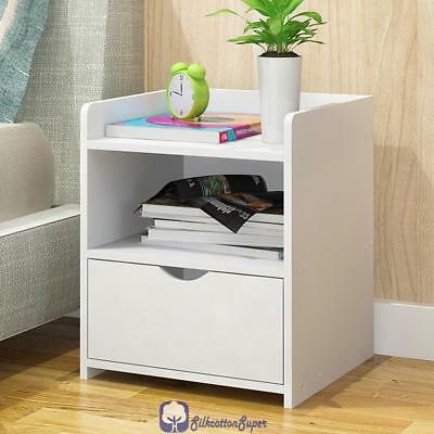 Simple Modern Storage Bedside Table Home Bedroom Multi-purpose Cabinet White NEW