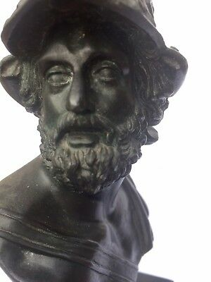 Beautiful Grand Tour Bronze Bust Of Ajax From The Iliad