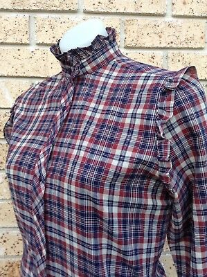 Original Vintage Check Shirt Size S High Collar Country Western Blouse Edwardian