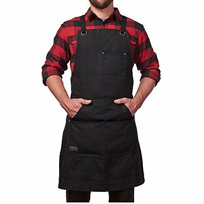 Heavy Duty Waxed Canvas Work Apron With Tool Pockets (Black), Cross-Back Straps