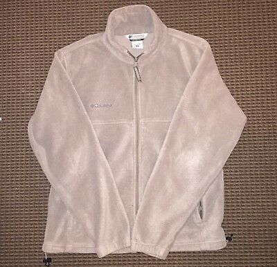 Columbia Tan Zip Up Fleece Jacket Size M Medium Men's