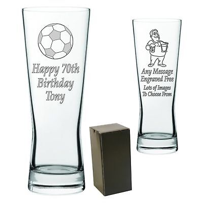 Personalised Engraved Tall Lager Pint Glass 18th 21st 30th 40th 50th 60th Gift