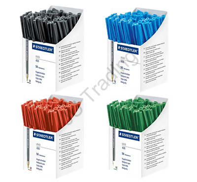 BLACK BLUE RED GREEN Staedtler Stick 430 Ballpoint Pen Medium *CHOOSE QTY*