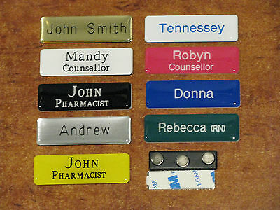 Engraved 64x19mm Domed Name Badges Magnetic Fastener