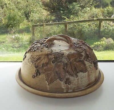 Black Mountain Pottery Wales Cheese Dome Stilton Plate and Cover  Hand Made